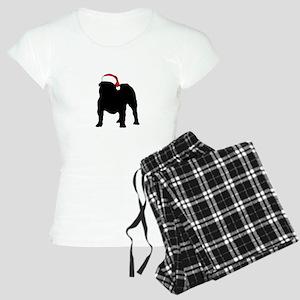 Bulldog Christmas Hat Women's Light Pajamas