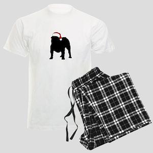 Bulldog Christmas Hat Men's Light Pajamas