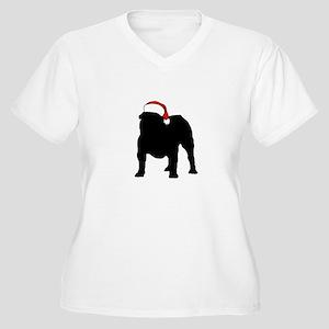 Bulldog Christmas Hat Women's Plus Size V-Neck T-S