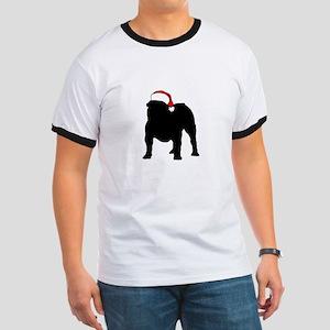 Bulldog Christmas Hat Ringer T