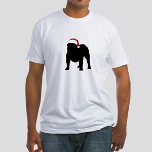 Bulldog Christmas Hat Fitted T-Shirt
