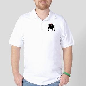 Bulldog Christmas Hat Golf Shirt
