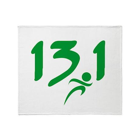 Green 13.1 half-marathon Throw Blanket