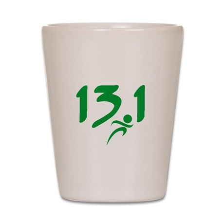 Green 13.1 half-marathon Shot Glass
