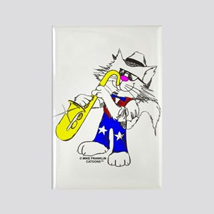 Sax Cat Rectangle Magnet