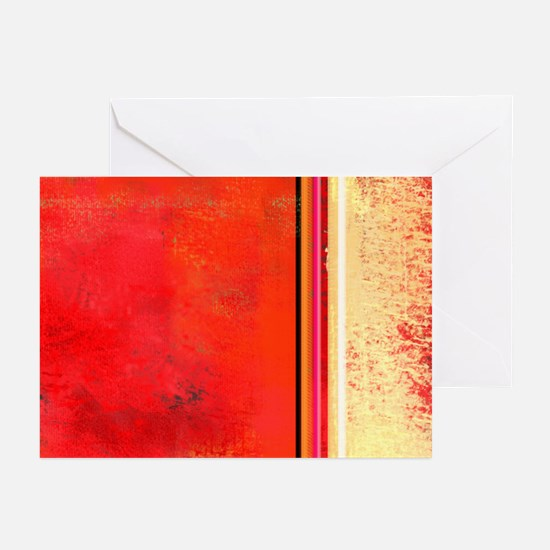 Abstract Red & Cream Greeting Cards (Pk of 10)