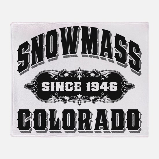 Snowmass Since 1946 Black Throw Blanket