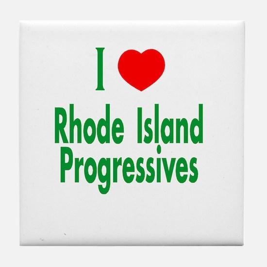 I Love/Heart RI Progressives Tile Coaster