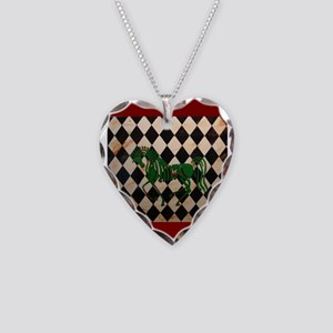 Checkerboard Horse Necklace Heart Charm
