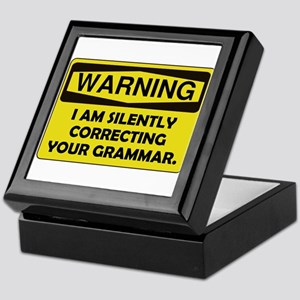 Warning Grammar Keepsake Box