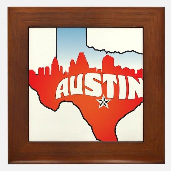 Austin Texas Skyline Framed Tile