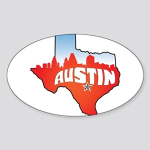 Austin Texas Skyline Sticker (Oval)