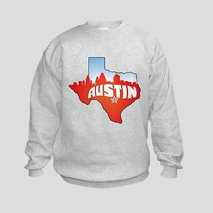 Austin Texas Skyline Kids Sweatshirt