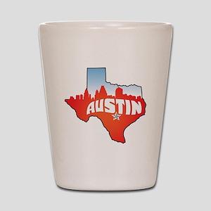 Austin Texas Skyline Shot Glass