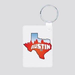 Austin Texas Skyline Aluminum Photo Keychain