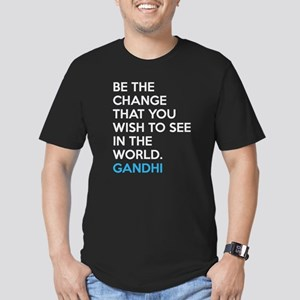 Be the Change Gandhi Quote Men's Fitted T-Shirt (d
