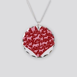 Horsey Heart Necklace Circle Charm