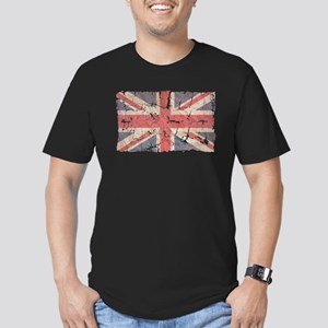 UK Flag Distressed Men's Fitted T-Shirt (dark)