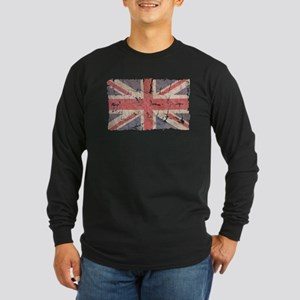 UK Flag Distressed Long Sleeve Dark T-Shirt