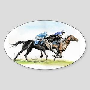 Horse race watercolor Sticker (Oval)