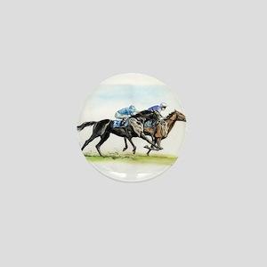Horse race watercolor Mini Button