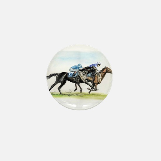 Horse race watercolor Mini Button