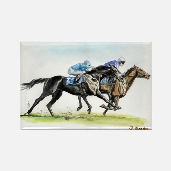 Horse race watercolor Rectangle Magnet