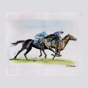Horse race watercolor Throw Blanket