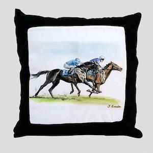 Horse race watercolor Throw Pillow
