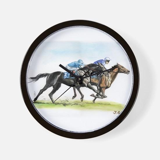 Horse race watercolor Wall Clock