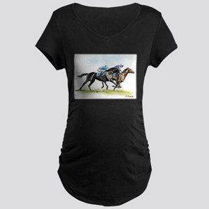 Horse race watercolor Maternity Dark T-Shirt