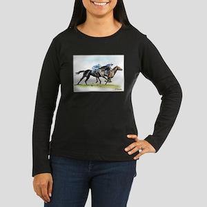 Horse race watercolor Women's Long Sleeve Dark T-S