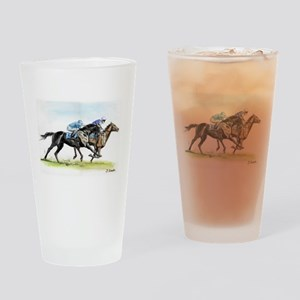 Horse race watercolor Drinking Glass