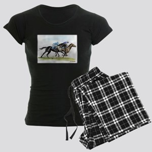 Horse race watercolor Women's Dark Pajamas