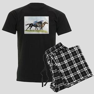 Horse race watercolor Men's Dark Pajamas