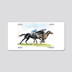Horse race watercolor Aluminum License Plate