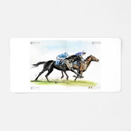 Horse race watercolor Aluminum License Plate