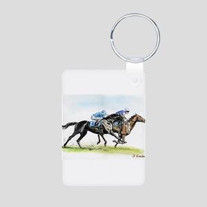 Horse race watercolor Aluminum Photo Keychain