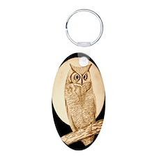 Owl Oval Keychain