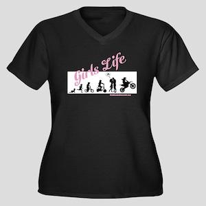 Girls Life Women's Plus Size V-Neck Dark T-Shirt