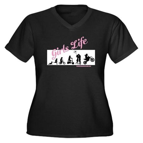 Girls Life Women's Plus Size V-Neck Dark T-Shirt
