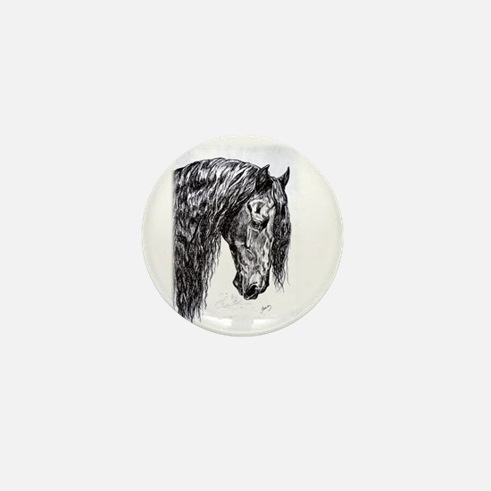 Frisian horse drawing Mini Button