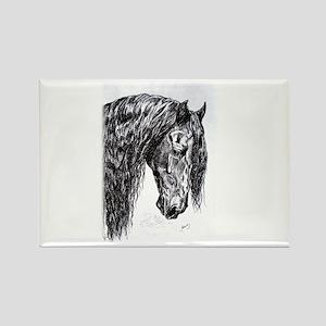 Frisian horse drawing Rectangle Magnet
