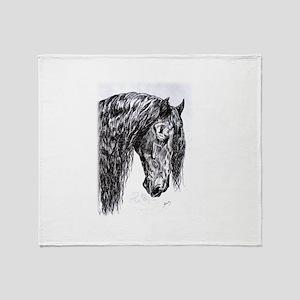 Frisian horse drawing Throw Blanket