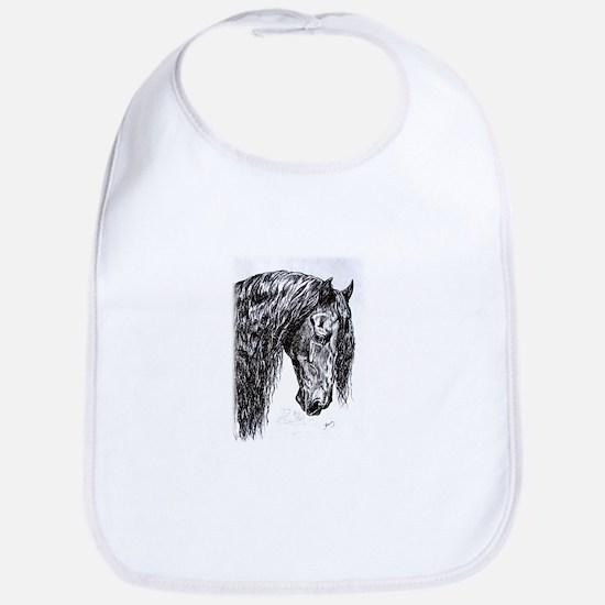Frisian horse drawing Bib