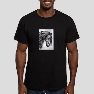 Frisian horse drawing Men's Fitted T-Shirt (dark)