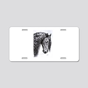 Frisian horse drawing Aluminum License Plate