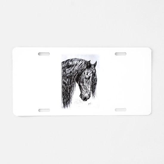 Frisian horse drawing Aluminum License Plate