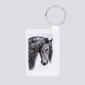Frisian horse drawing Aluminum Photo Keychain