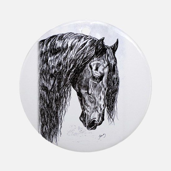 Frisian horse drawing Ornament (Round)